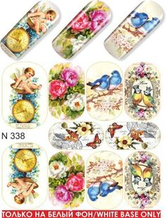 These water decals have cupid, floral, and bird designs to add to your nail art! Nail Decals, Nail Stickers, Vintage Nails, Nail Tattoo, Butterfly Nail, Water Transfer, Water Flowers, Nail Decorations, Bird Design