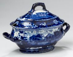 """Northeast Auctions 8/20/16 Lot: 51. Estimate: $2-3K. Realized: $1,440 (1,200). Description: 'FULTON MARKET, NEW YORK' & 'MASONIC HALL, PHILADELPHIA,' EXTREMELY RARE STAFFORDSHIRE DARK BLUE TRANSFER-PRINTED SAUCE TUREEN & COVER, RALPH STEVENSON, COBRIDGE, AFTER 1821. Printed on either side & the interior with a view of Fulton Market & on the cover with the Masonic Hall in Philadelphia, letter """"Q"""" in underglaze-blue. 5 ¼"""" h. Provenance: William & Teresa Kurau Antiques, January 31, 2009."""