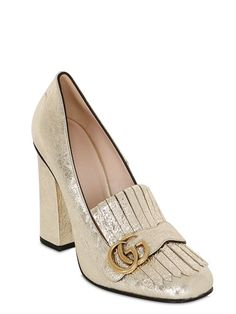GUCCI 105MM MARMONT METALLIC LEATHER PUMPS - LUXURY SHOPPING WORLDWIDE SHIPPING - FLORENCE
