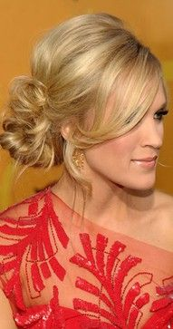hair!! bridesmaid hair, wedding updo, long hair, messy buns, carrie underwood, wedding hair styles, wedding hairstyles, side bun, bang
