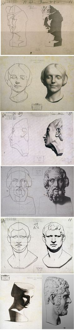 sculpture statues | pre-drawing | plaster head