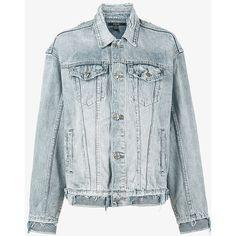 Ksubi Oversized Denim Jacket (€205) ❤ liked on Polyvore featuring outerwear, jackets, blue, oversized denim jackets, oversized jean jacket, blue jean jacket, ksubi and jean jacket