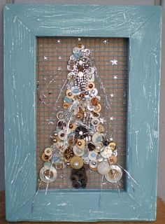 ButtonsRhinestones Beads Tree in Blue Frame by lynnery on Etsy