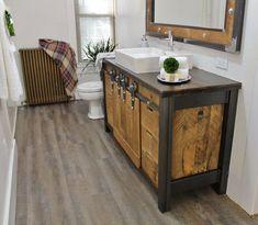 Rustic Industrial Vanity - Reclaimed Barn Wood Vanity w/Sliding Doors Rustic Vanity, Rustic Bathroom Vanities, Wood Vanity, Rustic Bathrooms, Bathroom Cabinets, Small Bathroom, Industrial Bathroom, Industrial Table, Industrial Farmhouse