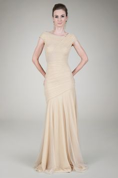 Draped Metallic Tulle Gown in Gold - Evening Shop | Tadashi Shoji