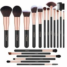 BESTOPE 18 Piece Makeup Brushes Set Premium Kabuki Brushes Synthetic Foundation Blending Blush Face Eyeliner Shadow Brow Concealer Lip Brush Tool Beauty Collection Cosmetic Brushes Kit - make_up_pintennium Best Makeup Brushes, How To Clean Makeup Brushes, Eye Brushes, It Cosmetics Brushes, Makeup Tools, Best Makeup Products, Cosmetic Brushes, Makeup Tutorials, Mac Cosmetics