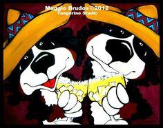 tequila bar art  Whimsical dog ART Bernese by tangerinestudio, $45.00