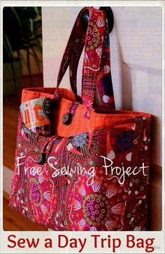 Sewing Fabric Day trip tote bag sewing pattern - Create this easy tote bag from your scraps. The sample bag shown above was sewn with Laura Gunn's Poppy fabric collection. Virginia Robertson shares how she uses Bag Patterns To Sew, Sewing Patterns Free, Free Sewing, Sewing Tutorials, Sewing Crafts, Sewing Projects, Free Pattern, Quilted Purse Patterns, Free Tote Bag Patterns