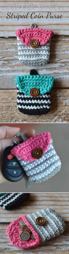 Crochet Striped Coin Purse