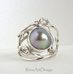 Mabe Pearl Ring Sterling Silver Sea of Cortez by ResaWilkinson, $275.00