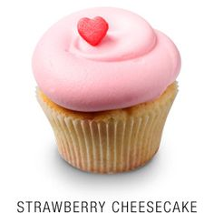 Georgetown Cupcake | DC Cupcakes | Menu | Classic madagascar bourbon vanilla cheesecake baked with fresh strawberries and topped with a fresh strawberry frosting and a fondant heart
