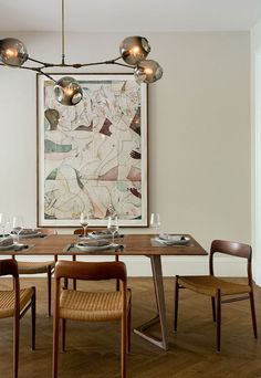 Vintage Industrial Decor in vintage brass with grey globesInterior by Tanya Capaldo Photo by Eric Roth Inspiration Design, Dining Room Inspiration, Interior Inspiration, Dining Room Walls, Dining Room Design, Living Room, Kitchen Walls, Home Interior Design, Interior Decorating