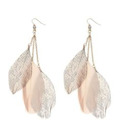 Pink Snake Feather Drop Earrings ($8.04) ❤ liked on Polyvore