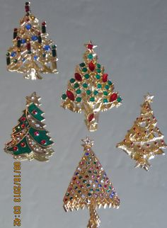 Set of Five Gold tone Rhinestone Vintage Christmas Tree by bling33, $23.00