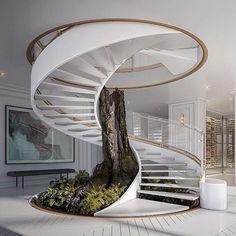 Walking into the weekend! : @vogue__designs #vogue__designs Home Stairs Design, Interior Stairs, Dream Home Design, Modern House Design, Modern Houses, Stair Design, Modern Stairs Design, Spiral Stairs Design, Design Loft