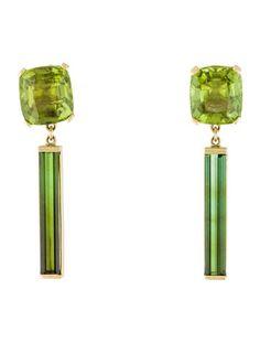 18K Peridot & Green Tourmaline Drop Earrings