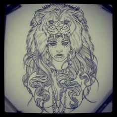Afbeeldingsresultaat voor girl with lion headdress tattoo Lion Head Tattoos, Love Tattoos, Beautiful Tattoos, Tattoo Painting, Tatoo Art, Piercings, Piercing Tattoo, Lion Tattoo Design, Tattoo Designs