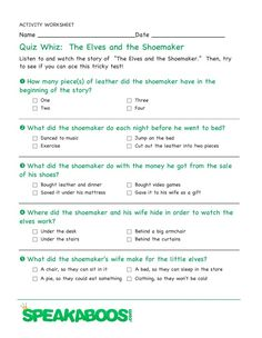 Quiz Whiz: The Elves and the Shoemaker | Speakaboos #Worksheets #quiz #education #kids