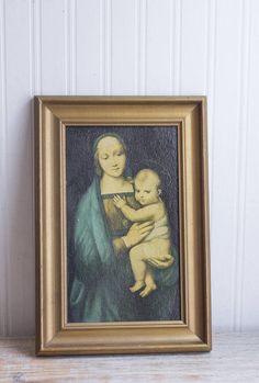 Vintage Madonna and Baby Jesus Framed Texture Print Antique Painting Blessed Mother Virgin Mary  sc 1 st  Pinterest & Antique Last Supper Print Vintage Religious Framed Art 1920u0027s ...