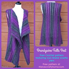 Crochet Cardigan Brandywine Falls Vest free crochet pattern - This is a free pattern for a soft and lovely crochet vest made with Lion Brand Scarfie yarn. So flattering and an easy one piece design. A wonderfully versatile addition to any wardrobe! Crochet Vest Pattern, Crochet Jacket, Crochet Cardigan, Crochet Shawl, Knitting Patterns Free, Free Crochet, Crochet Patterns, Crochet Vests, Free Pattern