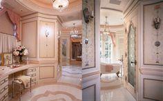 58 Best Ideas For Bath Room Dream Romantic Powder Rooms Modern Baths, Modern Bathroom, Vanity Makeup Rooms, Makeup Vanities, French Courtyard, Romantic Bath, Bathroom Wall Panels, Small Tub, Rustic Shower