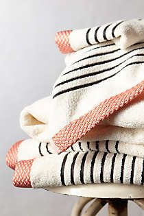 Anthropologie - Bay Shore Towel Collection, 2 towels, 3 hand towels and 1 washcloth