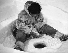 Eskimo+Culture+in+Alaska | ... 118116, Eskimo fisherman sitting near a hole and fishing, Alaska, USA