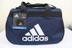 adidas diablo small duffel sport gym bag dark blue 18.5