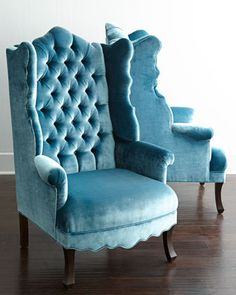 Peacock Velvet Wing Chair by Haute House at Horchow. www.MadamPaloozaEmporium.com www.facebook.com/MadamPalooza