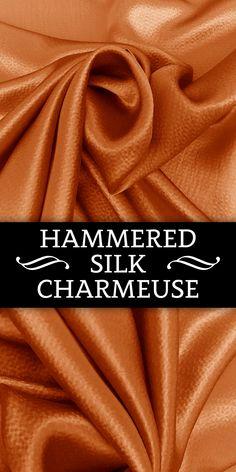 Hammered Silk Charmeuse in Orange (100% Silk)