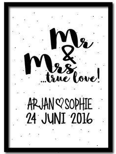 Poster Mr & Mrs met namen en datum <3