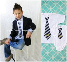 School Children Clothing, Nautical Navy Blue Striped Personalized Short Sleeve Tie T-Shirt w Yellow Monogram Back to School Prop, 1st Day on Etsy, $24.50