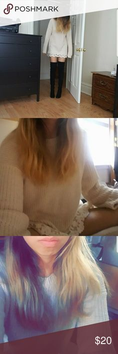 White sweater with lace. I used this sweater to dress up as Luna from sailor moon on Halloween just to get the costume discounts in my town. Size:small Forever 21 Sweaters Crew & Scoop Necks