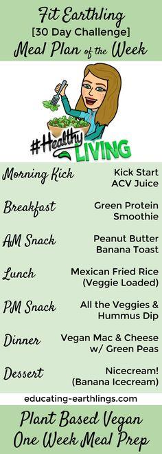 Week 1 Meap Prep   Fit Earthling 30 Day Challenge   plant based meal plan   vegan meal plan   free meal plan