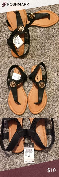 Black with gold medallions sandals Size 10, rue 21 sandals, black with gold medallion. New with tags Rue 21 Shoes Sandals