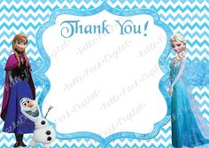 Frozen Chevron INSPIRED Birthday invitation with FREE thank you 5x7 or 4x6 size (Frozen INSPIRED)