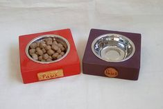 Do you love your furry friend and want to make sure they get all the love they need? Well why not treat them to their very own original food bowls that come in many sizes and many colours and can be used for both cat and dogs! Cook Book Stand, Food Bowl, Dog Bowls, Your Pet, Craft Supplies, Dog Cat, Handmade Items, Treats, How To Make