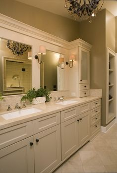 bathroom ideas-white cabinets and framing of the mirror.....also like the lighting!