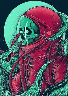 Space Alien Skull on Behance Alien Skull, Skull Art, Arte Horror, Horror Art, Art Pop, Psychedelic Art, Art And Illustration, Dope Kunst, Tattoo Wallpaper