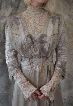 Edwardian Gown Silver Silk Wedding Dress.