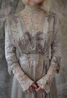 Edwardian Gown Silver Silk Wedding Dress.
