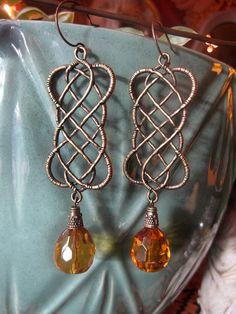 CERRIDWEN Celtic Knotwork Dangle Earrings by themoonandthesea, $18.00