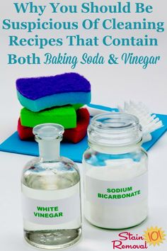 Here is why you should be suspicious of any homemade cleaning recipes that contain both baking soda and vinegar, together, and an exception to that general suspicion on Stain Removal 101 Deep Cleaning Tips, Cleaning Recipes, House Cleaning Tips, Car Cleaning, Cleaning Solutions, Cleaning Hacks, Cleaning Products, Cleaners Homemade, Diy Cleaners