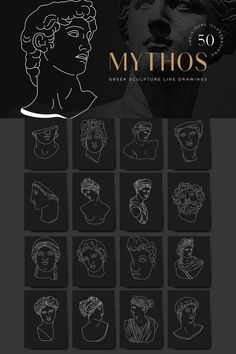 Aesthetic Greek Sculpture Line Art A collection of 50 minimalist vector line illustrations featuring Greek mythological characters and famous statues and Statue Tattoo, Sculpture Tattoo, Sculpture Art, Logo Design, Signage Design, Web Design, Minimalist Tattoo Small, Greek Mythology Tattoos, Natur Tattoos
