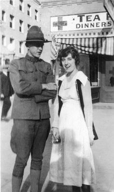 WW1 soldier and his Nurse friend. They look so cute! ~