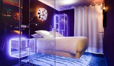 Absolute Levitation Room at Seven Hotel Paris. Reminds me of 'Tron.' I'd like to sleep here. #JetsetterCurator