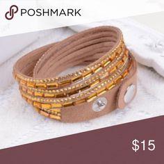 Crystal Wrap around Bracelet NEW Gold/Tan Mix Brand New zdazzled Jewelry Bracelets