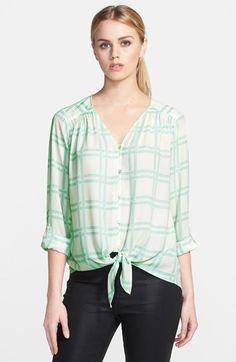 Ro & De Tie Front Blouse available at #Nordstrom