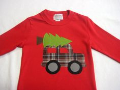 Boys Christmas Applique T-Shirt - Truck with Christmas Tree Applique. $28.00, via Etsy.