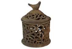 """One Kings Lane - Autumnal Touches - 12"""" Covered Bird Jar"""